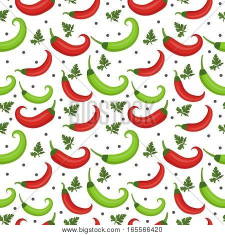 Chili peppers seamless pattern. Pepper red and green endless background, texture. Vegetable background. Vector illustration