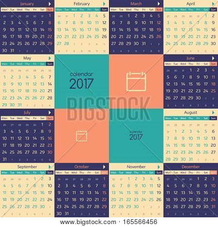 Simple european calendar for 2017 year twelve month grid. Vector illustration.