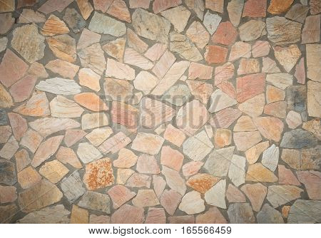 background and texture black and pink color of decorative Slate Stone wall pattern