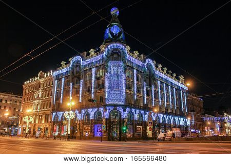 St. Petersburg, Russia - 7 January, Singer House on Nevsky Prospekt, 7 January, 2017. Night of St. Petersburg in the New Year and Christmas holidays.