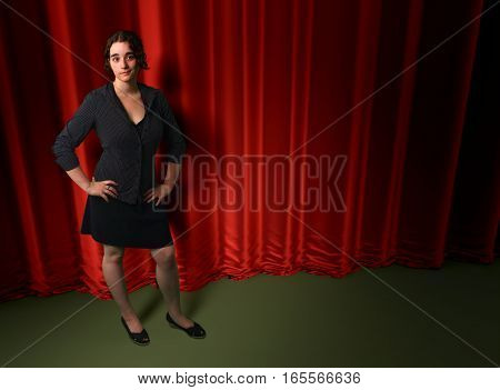 woman theater scene red curtain background concert