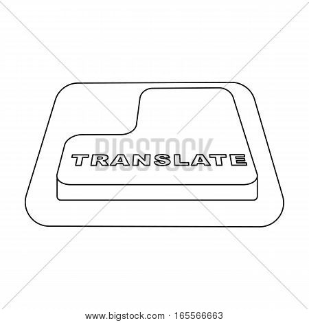 Translate button icon in outline design isolated on white background. Interpreter and translator symbol stock vector illustration.