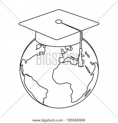 Multilingual planet icon in outline design isolated on white background. Interpreter and translator symbol stock vector illustration.