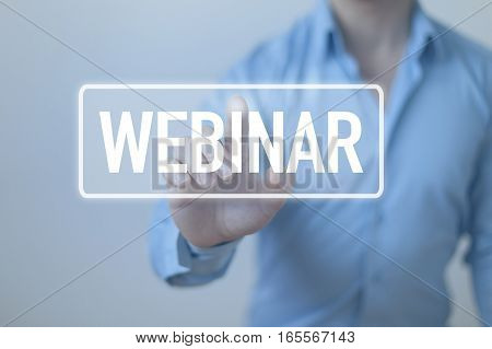Webinar concept web conferencing with business person