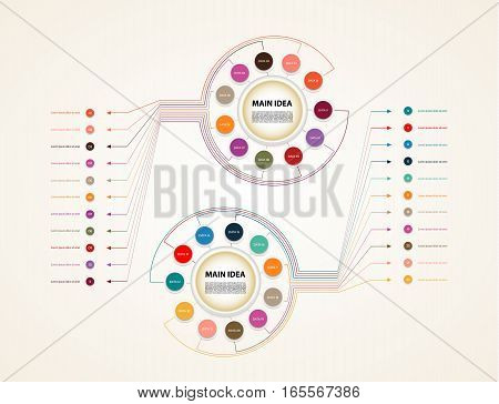 Vector circle infographic. Template for diagram graph timeline presentation and chart. Business concept with eleven options parts steps or processes. Abstract background.