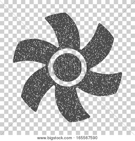 Rotor grainy textured icon for overlay watermark stamps. Flat symbol with dirty texture. Dotted vector gray ink rubber seal stamp with grunge design on a white background.