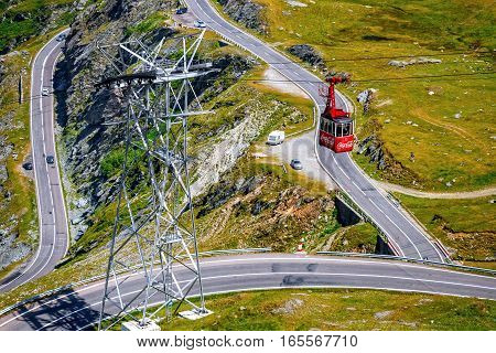Fagaras Mountains, Romania - July 21, 2014: Transfagarasan Mountain Road In Romania. Spectacular Roa