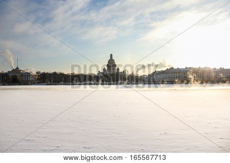 Admiralty Embankment St. Petersburg. Types of Winter St. Petersburg in sunny cold day.