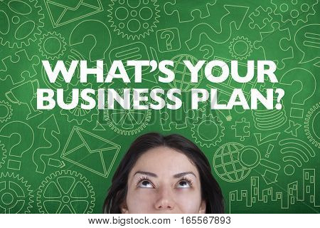 What is your business plan note with person and blackboard