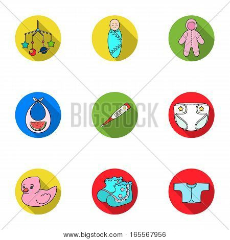 Baby born set icons in flat design. Big collection of baby born vector symbol stock illustration