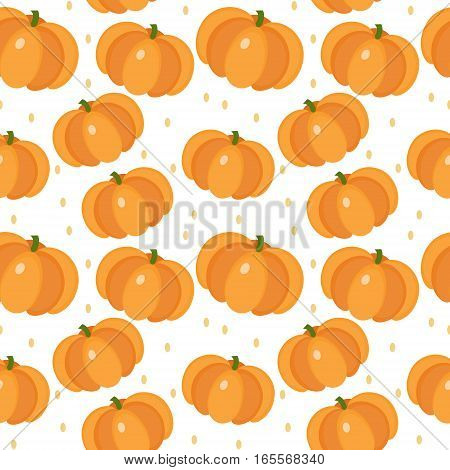 Pumpkin seamless pattern. Gourd, endless background, texture. Vegetable backdrop Vector illustration