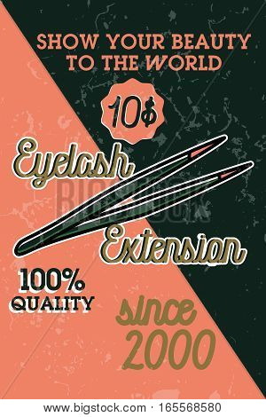 Color vintage eyelash extension banner. Vector illustration, EPS 10