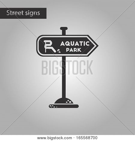 black and white style icon of sign aquatic park