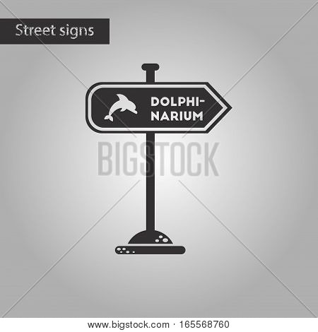 black and white style icon of dolphinarium sign