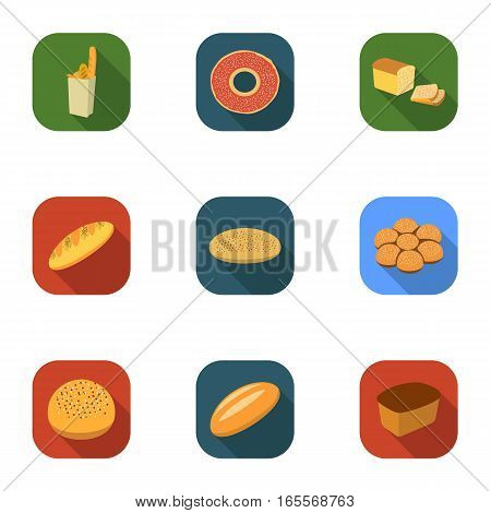 Bread set icons in flat style. Big collection of bread vector symbol stock