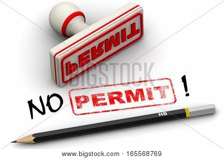 No permit! Corrected seal impression. Red seal and imprint