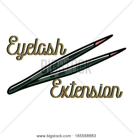 Color vintage eyelash extension emblem, label, badge and design elements. Vector illustration, EPS 10