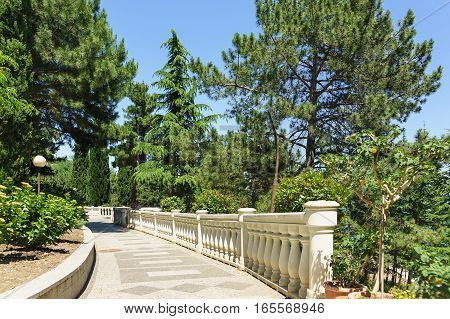 The balustrade on the hillside in the Park of the seaside town. Partenit Crimea Russia