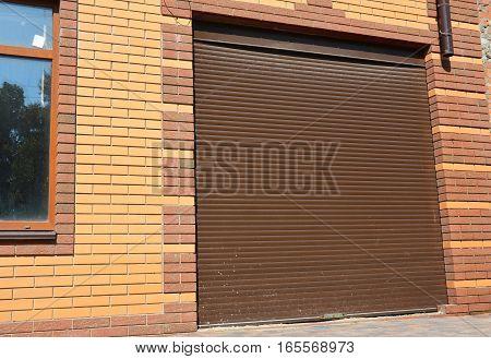House Garage Door Installation. Close up on new garage door.