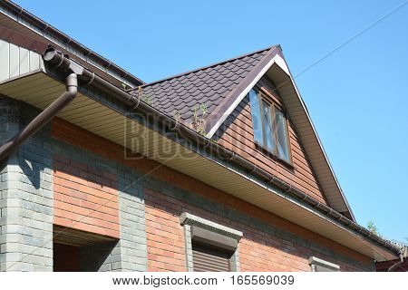 Rain gutter with downspout pipe. Small trees growing in rain gutter and need to gutter cleaning