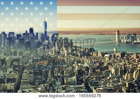 New York city skyline with American flag in background.