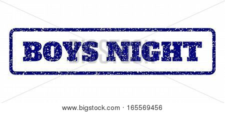 Navy Blue rubber seal stamp with Boys Night text. Vector tag inside rounded rectangular frame. Grunge design and dirty texture for watermark labels. Horisontal emblem on a white background.