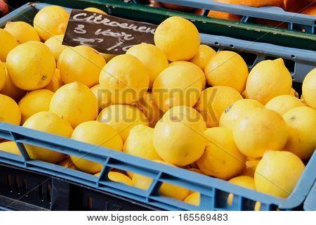3 lemons for 1 euro on the market.