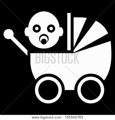 Baby Carriage vector icon. Flat white symbol. Pictogram is isolated on a black background. Designed for web and software interfaces.