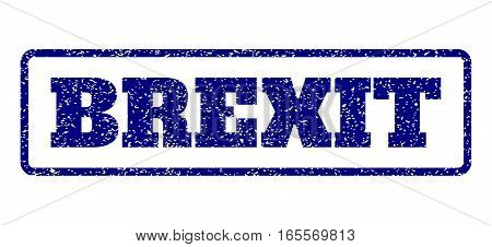 Navy Blue rubber seal stamp with Brexit text. Vector message inside rounded rectangular shape. Grunge design and scratched texture for watermark labels. Horisontal sign on a white background.