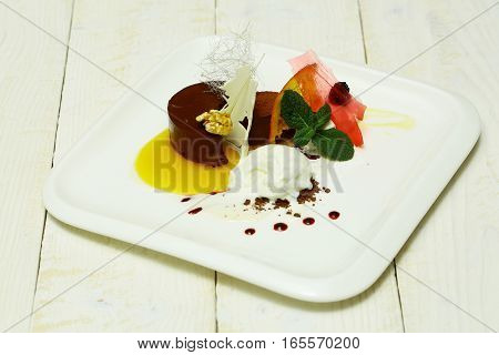 Sweet Dessert With Ice Cream
