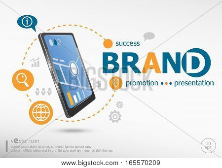 Branding Word Cloud Concept And Realistic Smartphone Black Color.