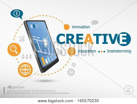 Creative Word Cloud Concept And Realistic Smartphone Black Color.
