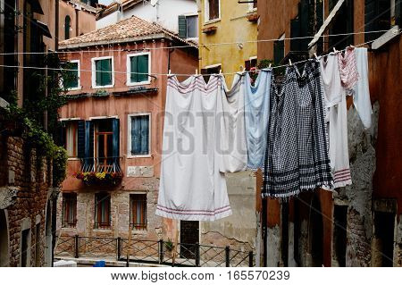 Clothesline with laundry in the streets of beautiful Venice, Italy
