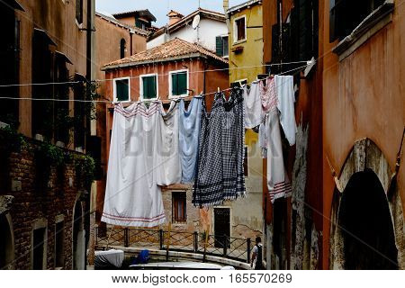 Clothesline with laundry in the streets of Venice Italy.
