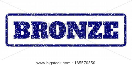 Navy Blue rubber seal stamp with Bronze text. Vector message inside rounded rectangular banner. Grunge design and dirty texture for watermark labels. Horisontal sign on a white background.