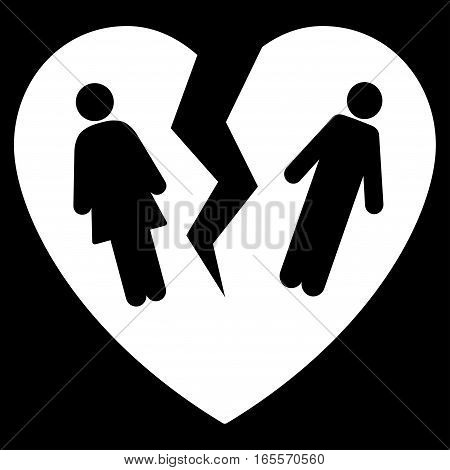 Broken Family Heart vector icon. Flat white symbol. Pictogram is isolated on a black background. Designed for web and software interfaces.