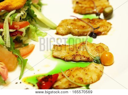 Fried Fish And Salad Mix