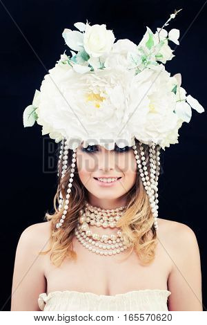 Beautiful Woman Fashion Model with White Flowers Wreath. Classic Young Beauty