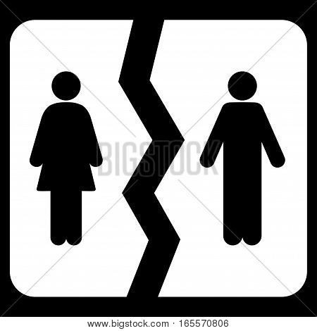 Divorce vector icon. Flat white symbol. Pictogram is isolated on a black background. Designed for web and software interfaces.