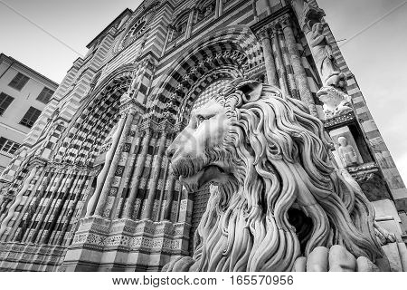 Genoa landmark Saint Lawrence historic cathedral church black and white photography.