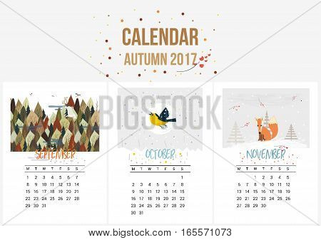 Colorful cute seasons calendar of Autumn 2017. September, October, November. Can be used for web, banner, poster, label and printable. Vector