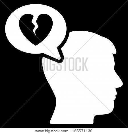 Divorce Thinking Man vector icon. Flat white symbol. Pictogram is isolated on a black background. Designed for web and software interfaces.