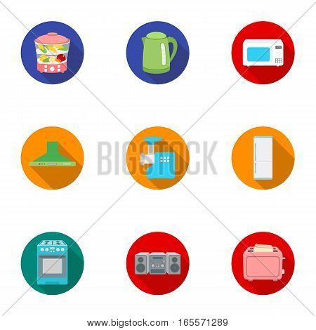 Household appliances set icons in flat style. Big collection of household appliances vector symbol stock