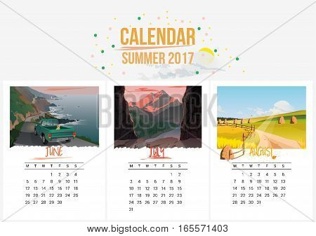 Colorful cute seasons calendar of Summer 2017. June, July, August. Can be used for web, banner, poster, label and printable. Vector