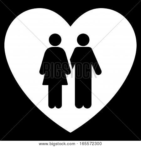 Family Love Heart vector icon. Flat white symbol. Pictogram is isolated on a black background. Designed for web and software interfaces.