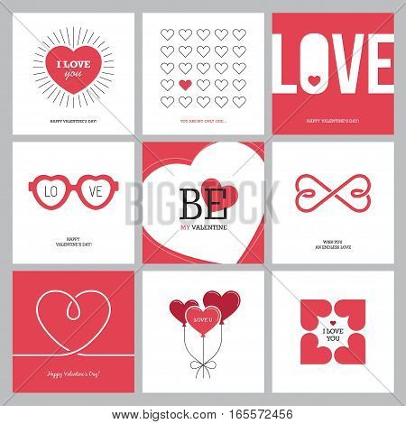 Creative design concepts set with hearts for Valentine's day Mother's day Women's day greeting cards or love confession