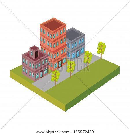 Nice neighborhood street icon vector illustration design