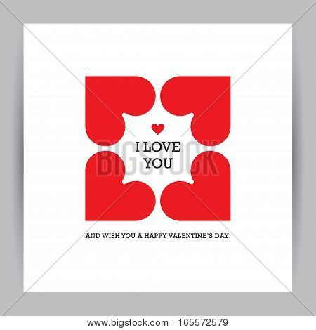 Creative Valentine's day greeting card with four red hearts in a shape of square frame