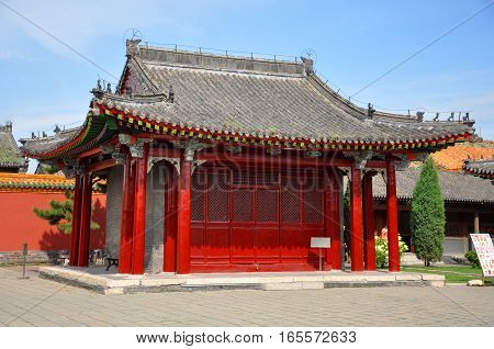 Pavilion on the Eastern section of Shenyang Imperial Palace Mukden Palace, Shenyang, Liaoning Province, China. Shenyang Imperial Palace is UNESCO world heritage site built in 400 years ago.