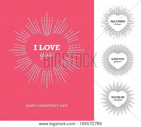 Creative design concept with heart shaped frame and sunburst for Valentine's day Mother's day Women's day greeting cards or love confession